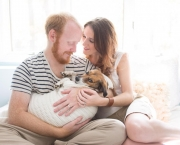 couple-stages-adorable-newborn-baby-photo-shoot-pet-dog